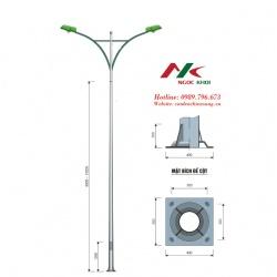 Cột đèn cao áp 11m cần 2 nhánh kiểu B02