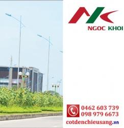 Cột thép bát giác 8m cần đơn kiểu B05 - đèn cao cáp NK16